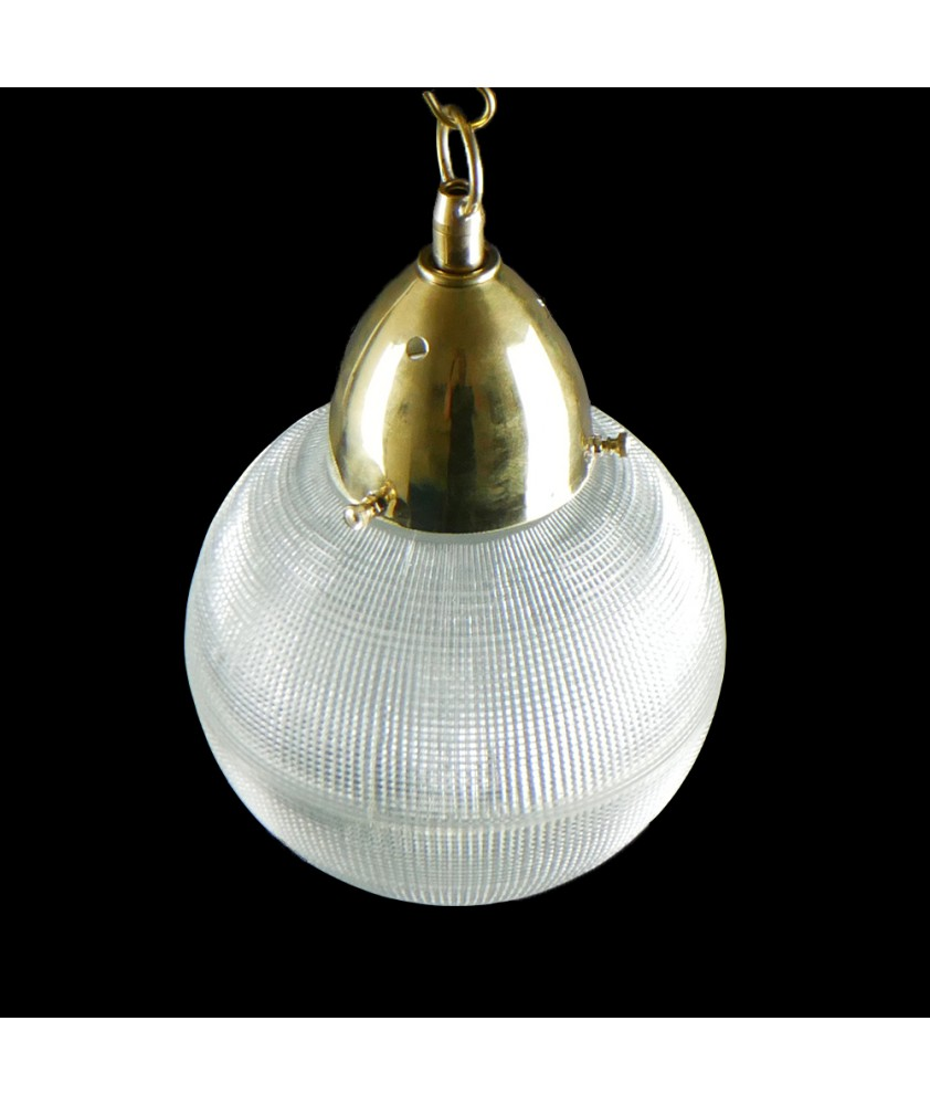 200mm Holophane Globe Shade complete with Brass Gallery