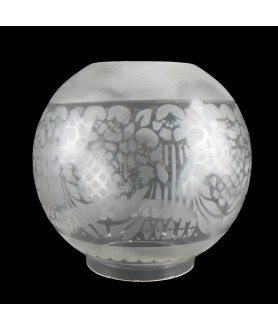Frosted Patterned Globe Oil Lamp Shade with 100mm Base
