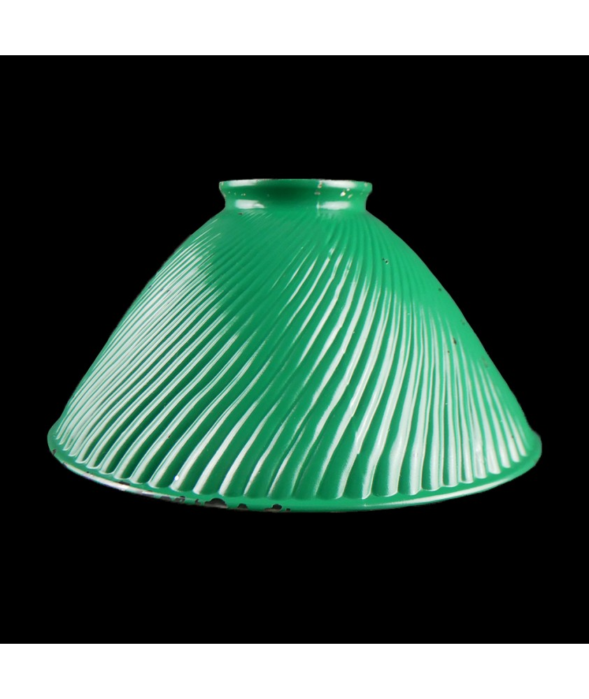 Green Ribbed Coolie Light Shade with 80mm Fitter Neck