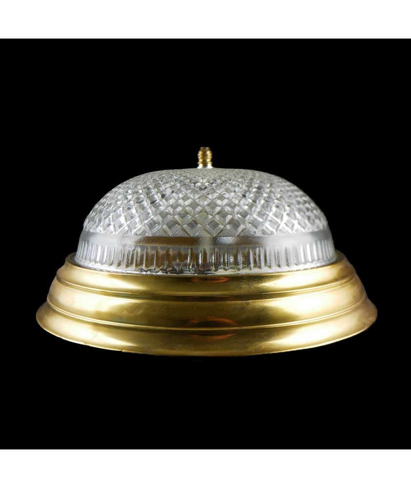 Crystal Cut Flush Ceiling Light with Brass Finish
