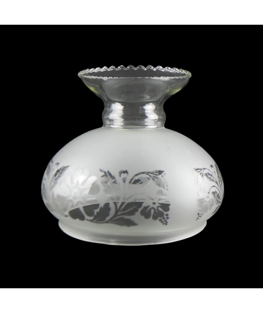 Frosted Pattered Oil Lamp Vesta Shade with 135mm Base