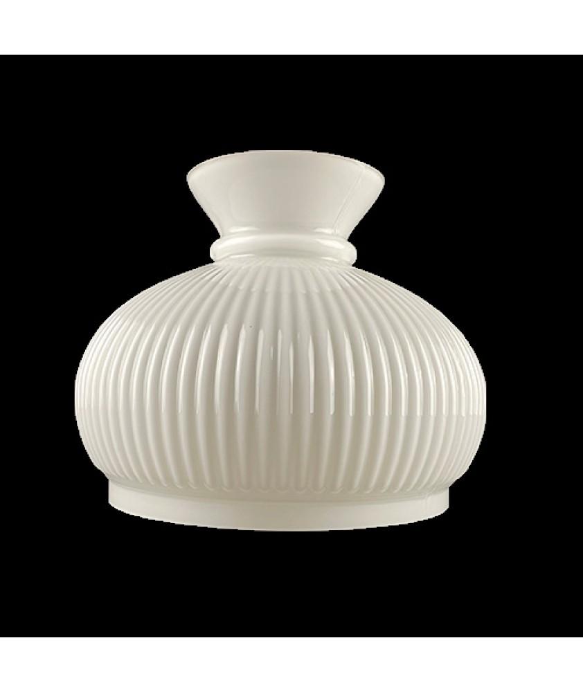 220mm Ribbed Opal Oil Lamp Vesta Shade