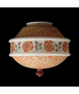 Orange and Opal Floral Patterned Ceiling Shade with 100mm Fitter Neck