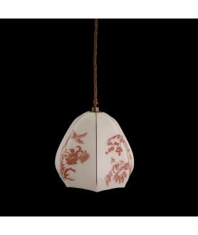 1950's Set of 3 Hand Painted Patterned Ceiling / Pendant Shade