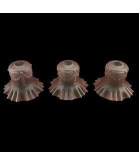 Set of 3 Pink Embossed Frilled Tulip Shade with 30mm Fitter Hole