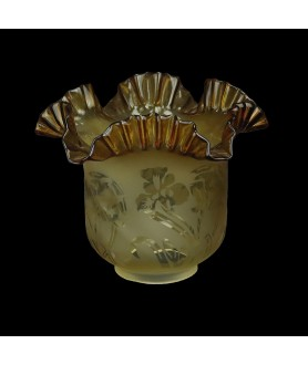 Original Dark Amber Oil Lamp Shade with Floral Frosted Pattern and 85mm Base