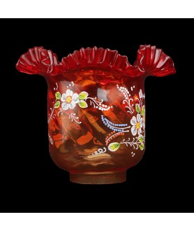 Original Red Oil Lamp Shade with Hand Painted Floral Pattern and 85mm Base