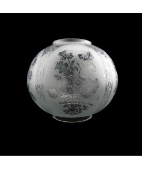 215mm Etched Oil Lamp Globe :  100mm Base for Double Wick Lamp