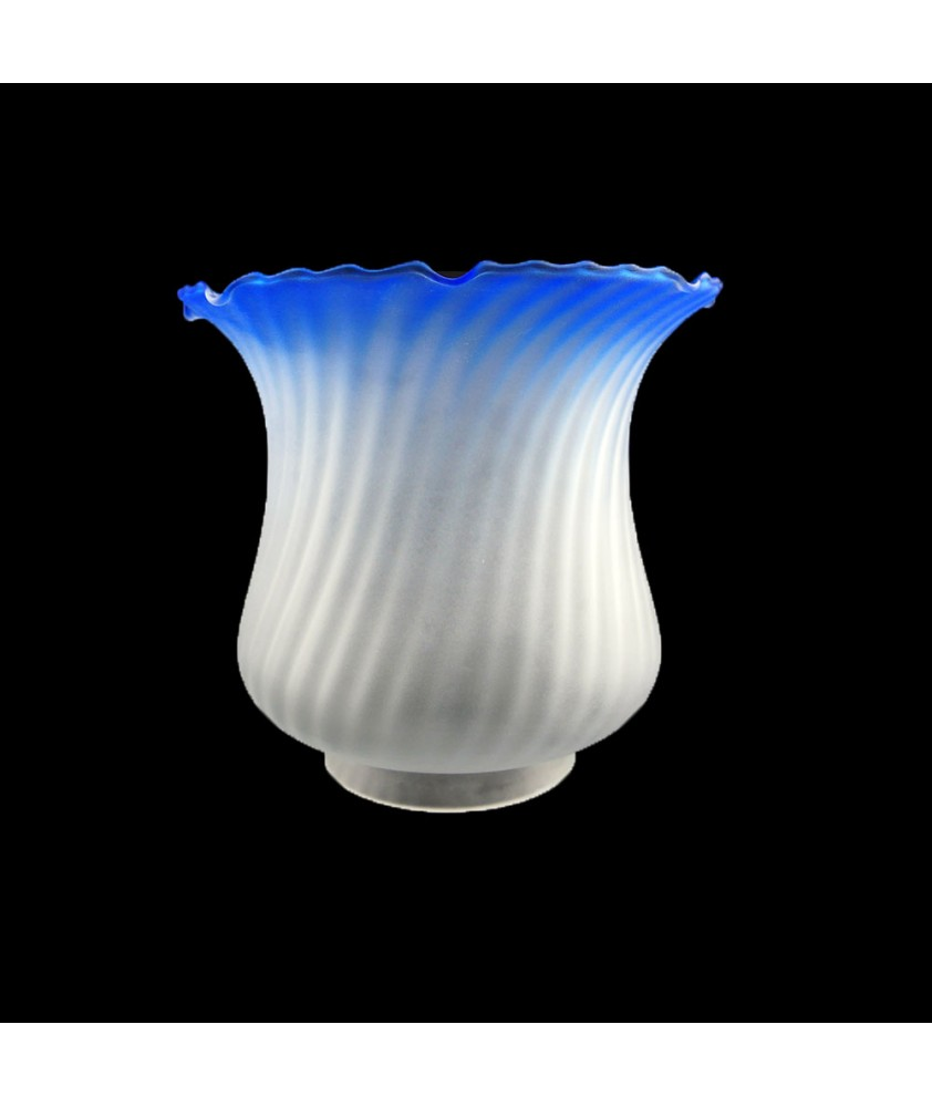 Blue Tipped Tulip Oil Lamp Shade with 100mm Base