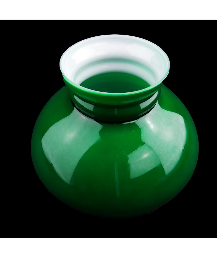 176mm Base Green Vesta Oil Lamp Shade