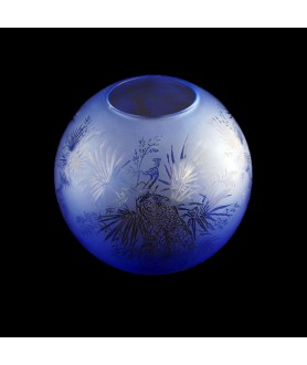 Blue Bird Patterned Oil Lamp Shade 100mm Base