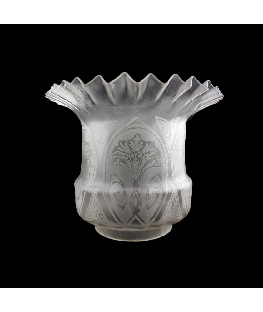 Original Frilled Top Victorian Oil Lamp Shade with 100mm Base