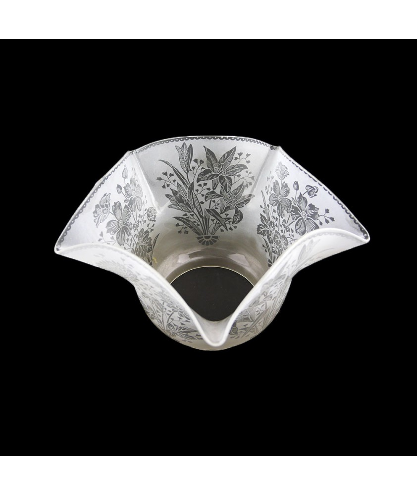 Patterned Original Victorian Tulip Style Oil Lamp Shade with 100mm Base