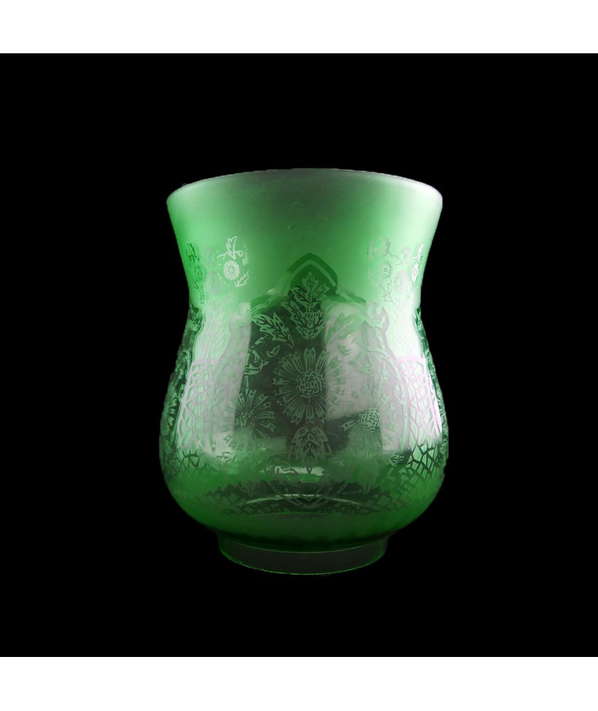 Patterned Green Oil Lamp Shade