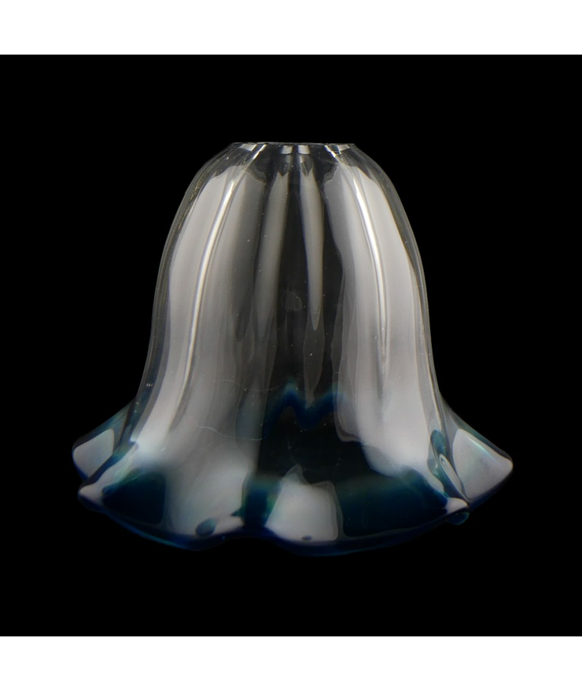 Clear Tulip Light Shade with Aqua Tip with 30mm Fitter Hole