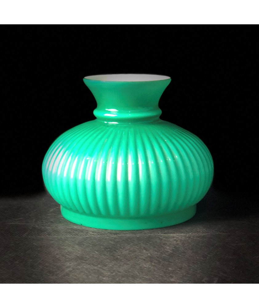 128mm Vintage Ribbed Green Oil Lamp Shade