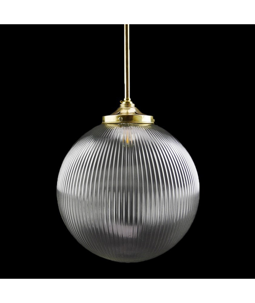 300mm Complete Reeded Globe Rod Pendant