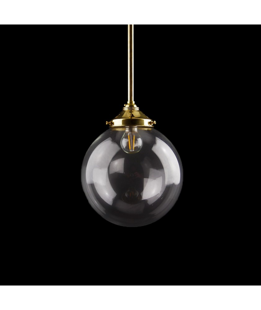 125mm Complete Clear Globe Rod Pendant
