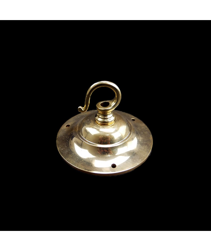 95mm Brass Ceiling Plate with Heavy Duty Hook under 100kg