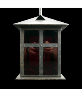 Charming Distressed Black Lantern with Red Glass Panels