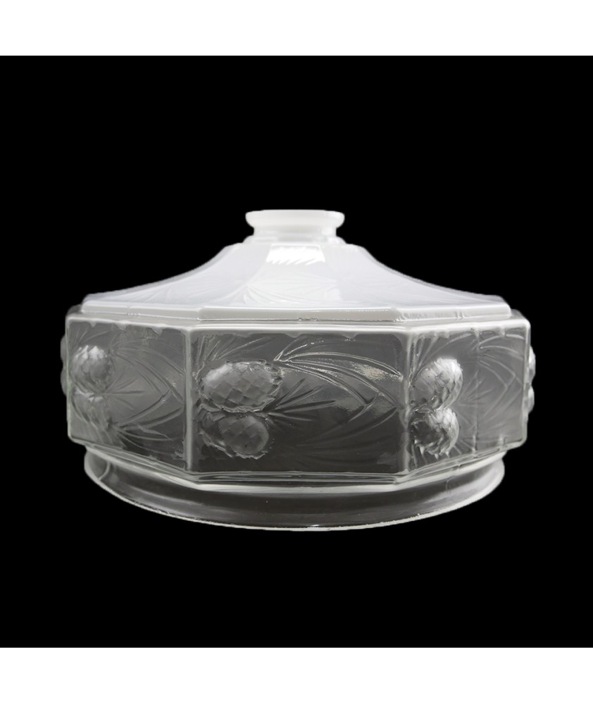 250mm Opal Clear Ceiling Light Shade with 57mm Fitter Neck