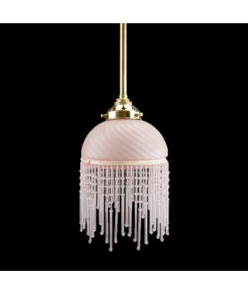 150mm Pink Fringed Ceiling Light Shade with 55mm Fitter Neck