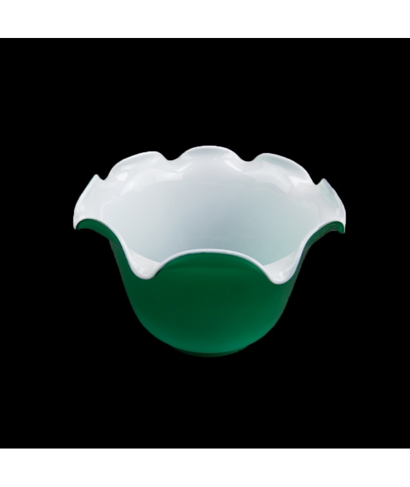 Green with Opal Internal Duplex Oil Lamp Shade with 100mm Base