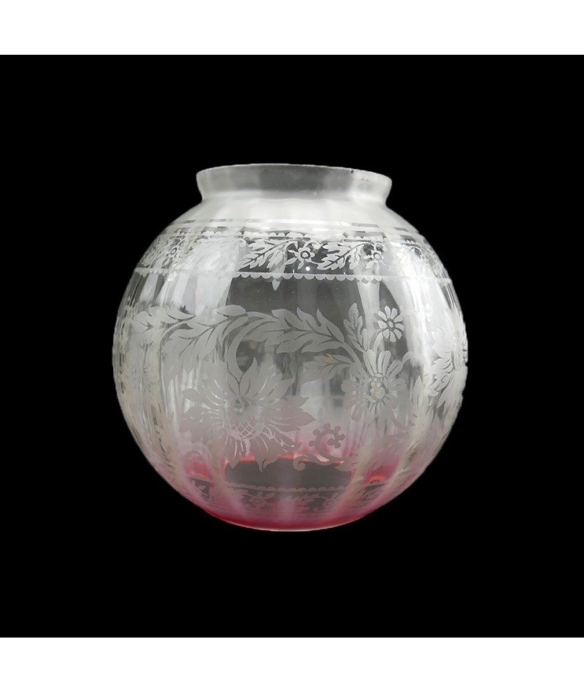 Cranberry Tipped Oil Lamp Shade / Ceiling Shade Christopher Wray