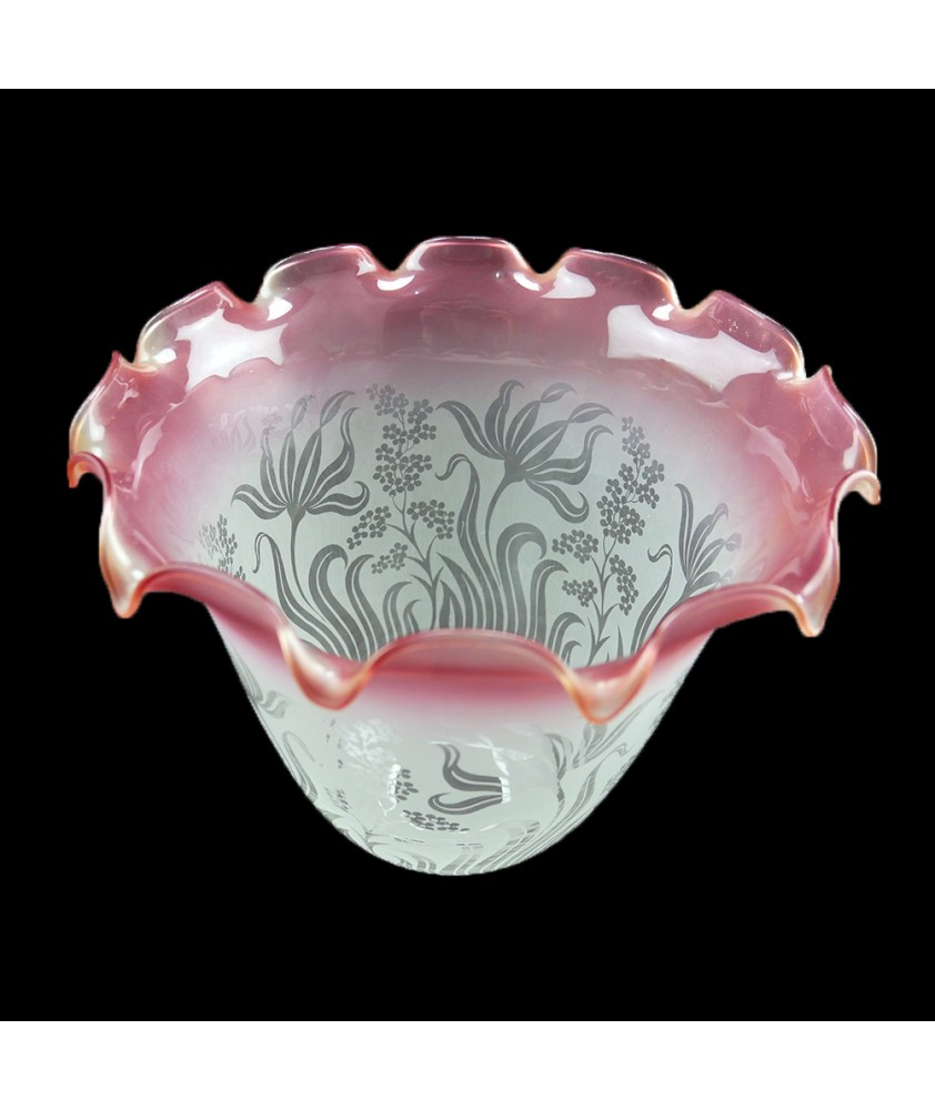 Large Etched Christopher Wray Tulip Ceiling Light Shade : Cranberry tip