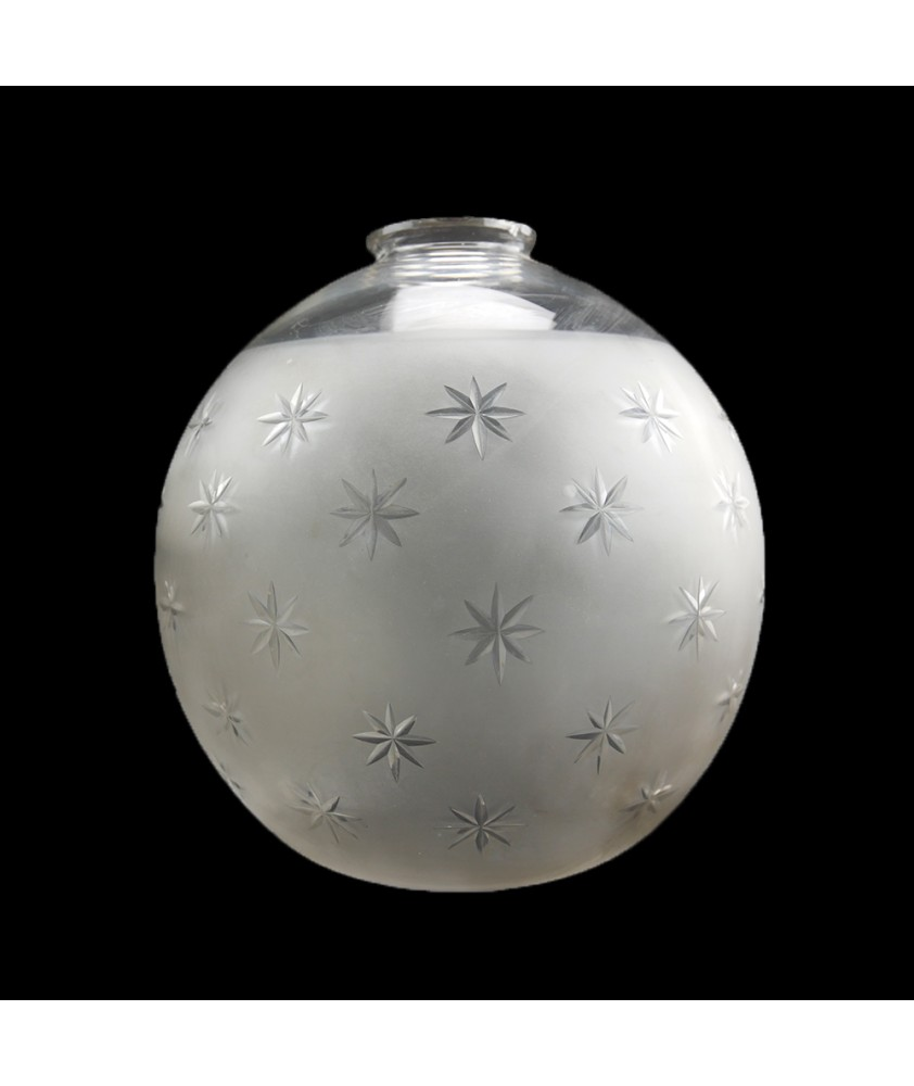 200mm Clear with Star Frosted Pattern Globe shade  with 2 Holes
