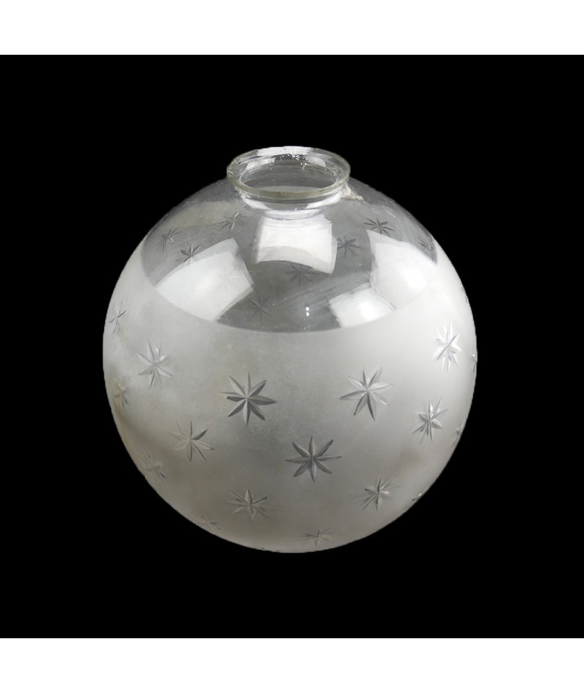 200mm Clear with Star Frosted Pattern Globe shade with 65mm Fitter Neck and Second Hole