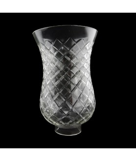 Cross Cut Hurricane Glass Shade with 50mm Base