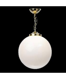 Opal Globe Pendant Polished Brass Finish