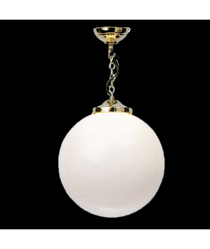 Opal Globe Pendant Polished Brass Finish