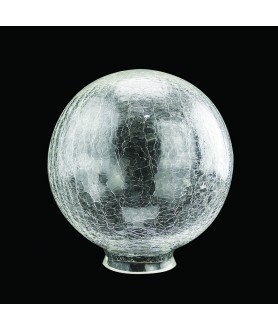 200mm Crackle Globe Light Shade With 80mm Fitter Neck (Clear or Frosted)