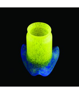 Yellow to Blue Pate de Verre Light Shade with 55-57mm Fitter Neck