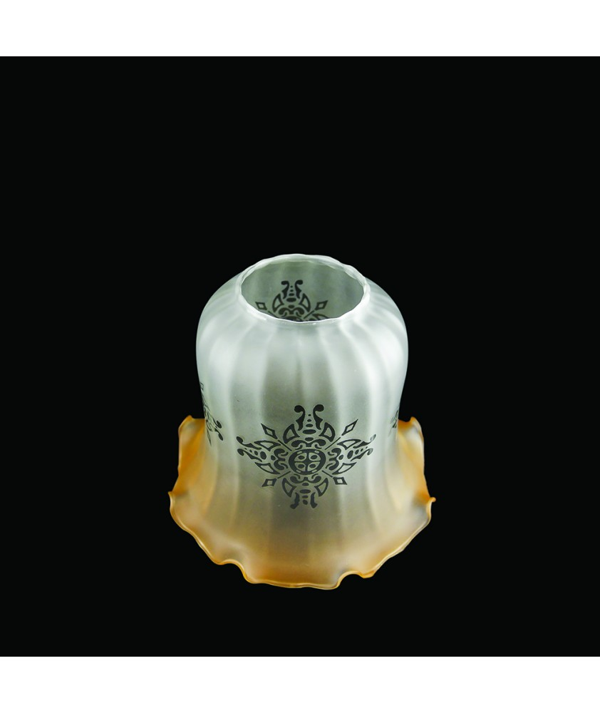 Christopher Wray Amber tipped Tulip Light Shade with Etched Pattern and 50mm Fitter Hole