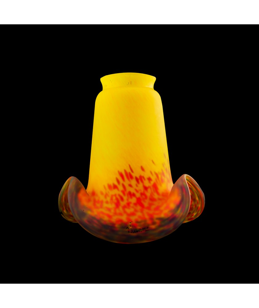Yellow/Orange/Brown Pate De Verre Shade with 52mm Fitter Hole