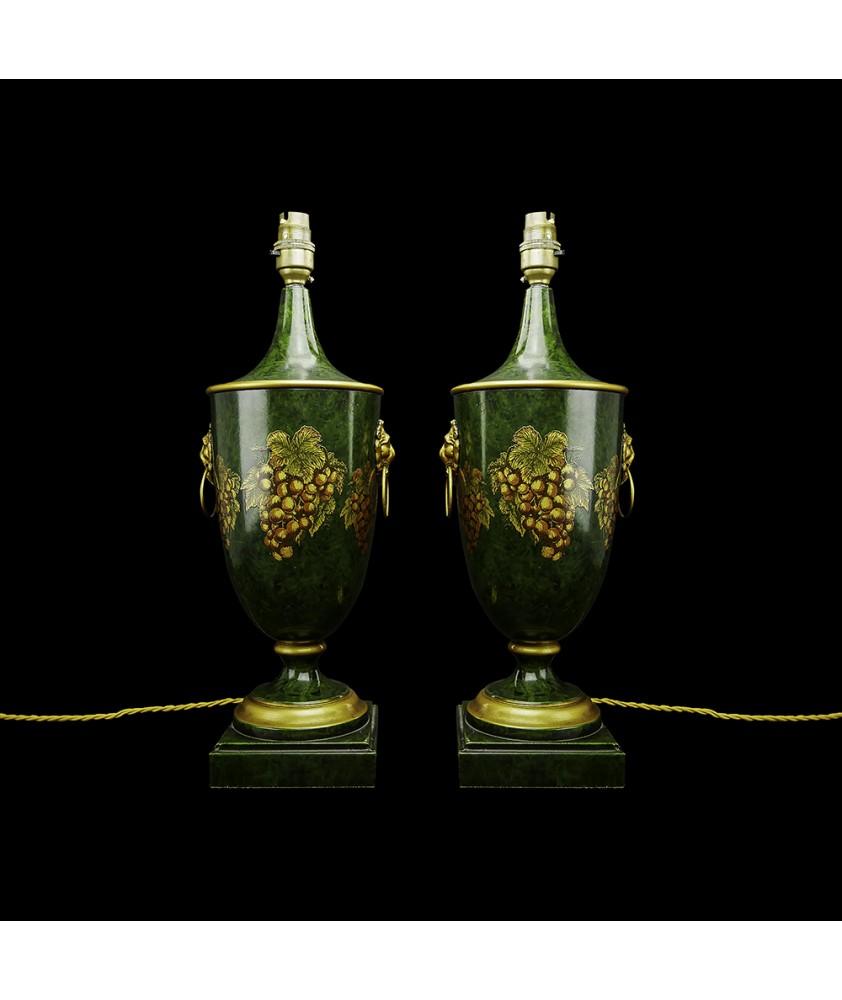 Pair of Classic Dark Green Table Lamps