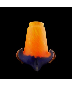 Pate De Verre Tulip Light Shade in Orange and Blue with 55-57mm Fitter Neck