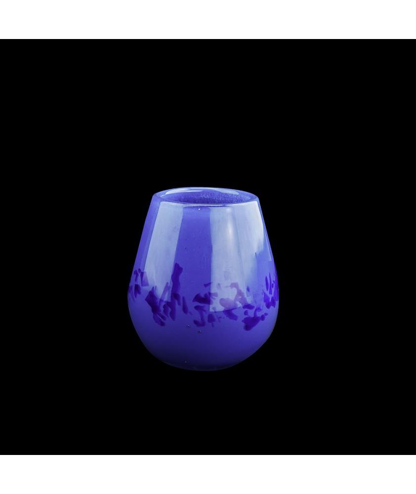 Scottish Blue Art Glass Lamp with Matching Vase