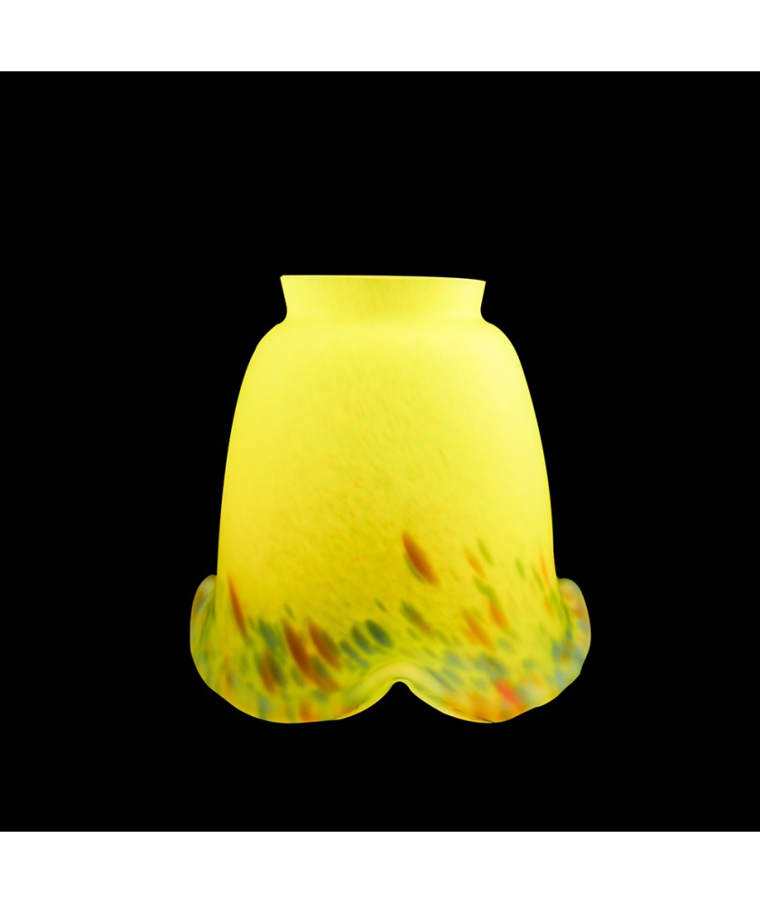 Pate de Verre Yellow Multi Coloured Flecked Tulip Light Shade with 57mm Fitter Neck
