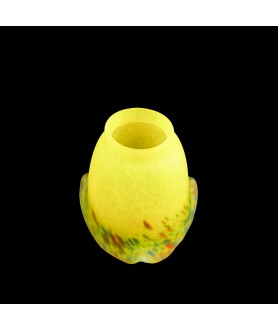 Pate de Verre Yellow Multi Coloured Flecked Tulip with 57mm Fitter Neck