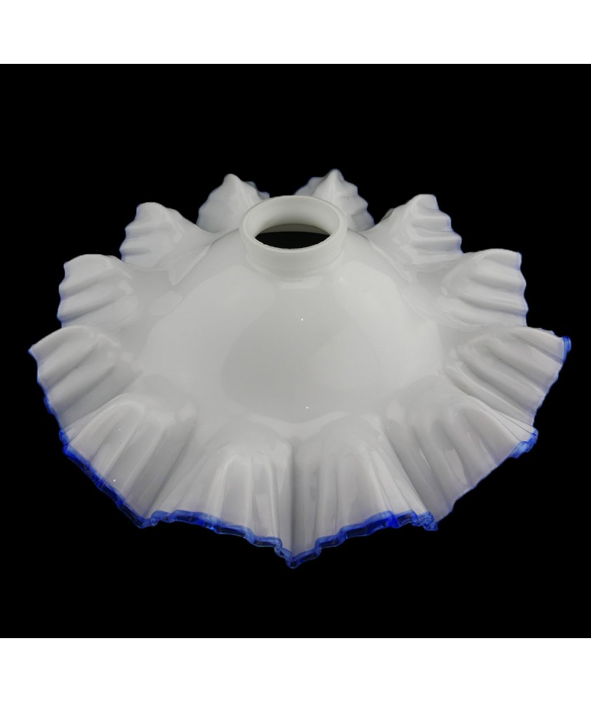 255mm Flat Opal Coolie Light Shade with Blue Rim and 55mm Fitter Neck