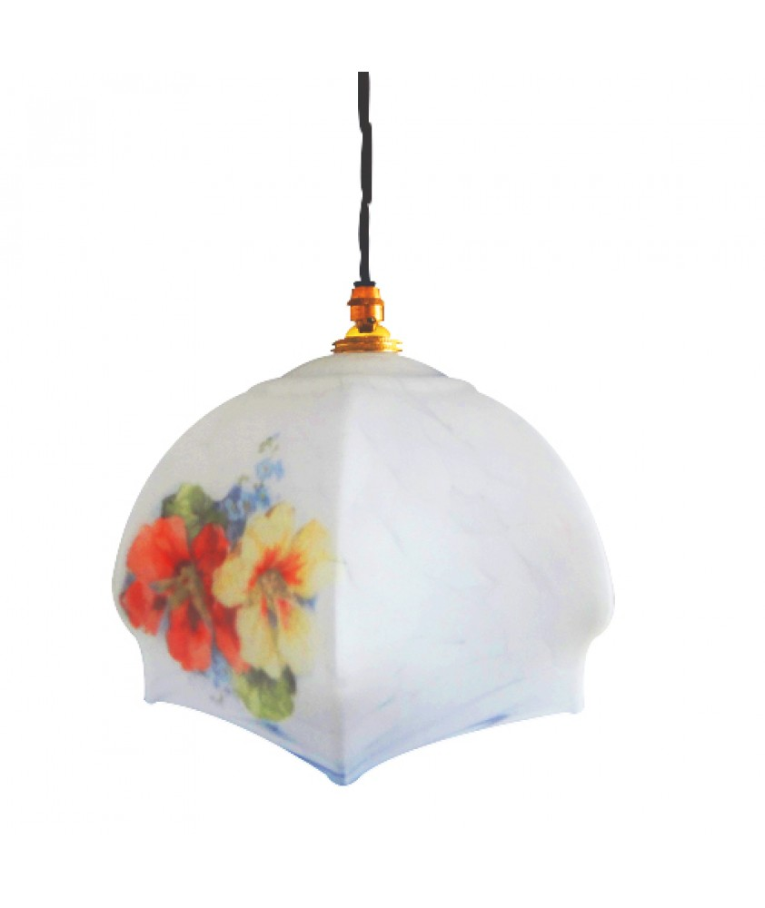 Vintage White Pendant with Floral Pattern