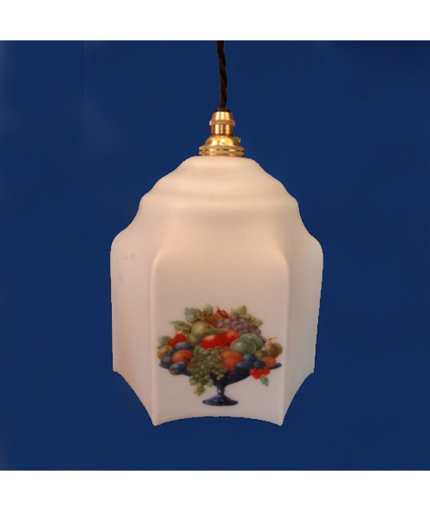 Vintage White Pendant with Fruit Basket