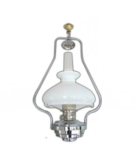Aladdin Chrome Hanging Lamp with Opal Shade