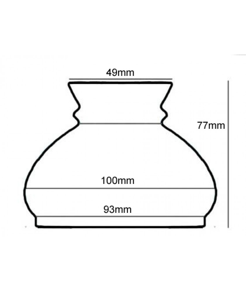 98mm Base Opal Vesta Oil Lamp Shade