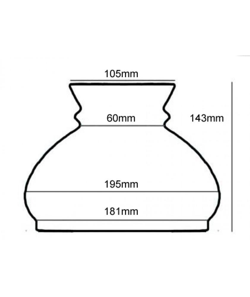 182mm Base Opal Vesta Oil Lamp Shade