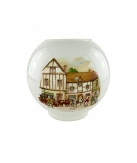 Opal Oil Lamp Shade with Coach and Horses